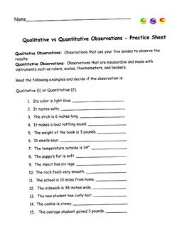 quantitative vs qualitative worksheet worksheets for all