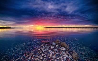 Sunrise Pink Nature Landscape Clouds Water Lake
