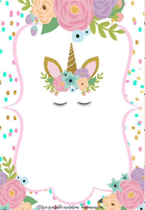 Unicorn Birthday Invitations Free Editable Printable