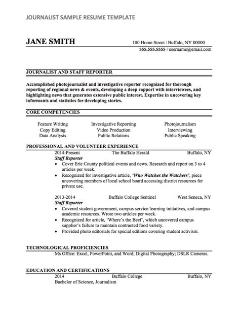 Journalism Resume Exles journalist resume sle internships
