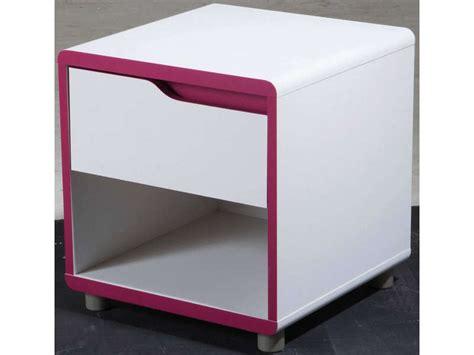 chambre moby chevet 1 tiroir 1 niche moby coloris blanc fushia