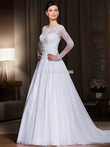 plus size wedding dresses long sleeves a line tulle With long plus size wedding dresses