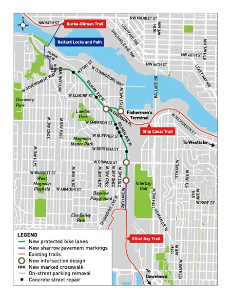 Each section of the ride. Interbay Trail Connections Project - Transportation   seattle.gov