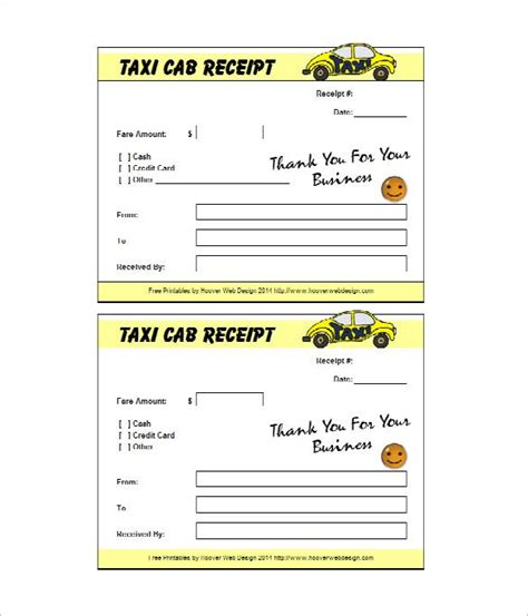 taxi receipt template   word excel  format