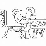 Desk Coloring Bear Timey sketch template