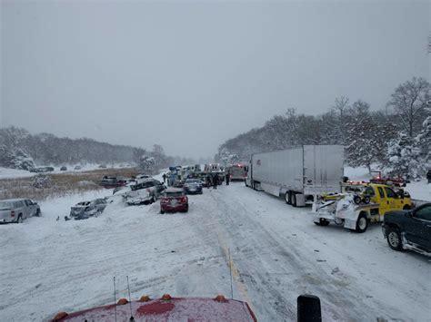 huge multi vehicle pileup  michigan sends cars