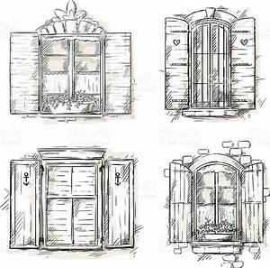 Vintage Window Hand Drawn Set Of Vector Drawings stock ...