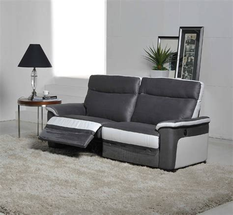canapé relaxation canape 3 places relax electrique idaho luba gris fonce pu