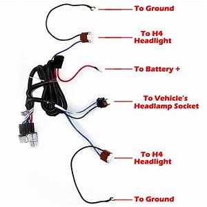 1x Ceramic H4 Headlight Relay Wiring Harness 2 Headlamp