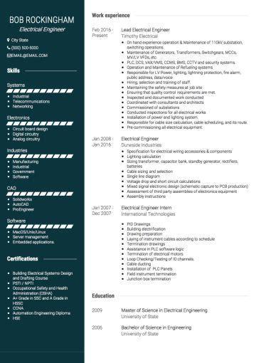 electrical engineer cv  cv examples engineering