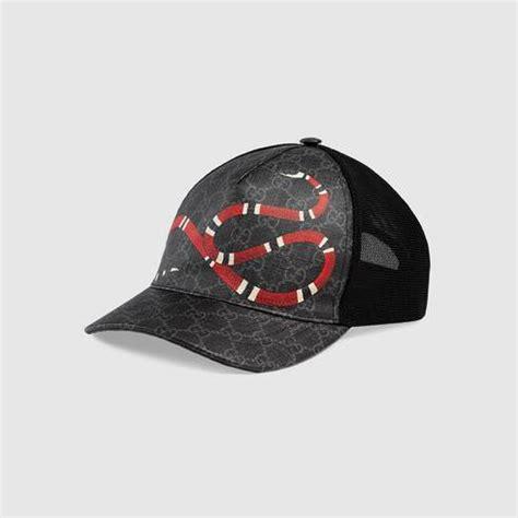 black kingsnake print gg supreme baseball hat gucci
