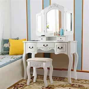 Tri, Folding, Vintage, White, Vanity, Makeup, Dressing, Table, Set, 5, Drawers, Christmas, 6952938342926