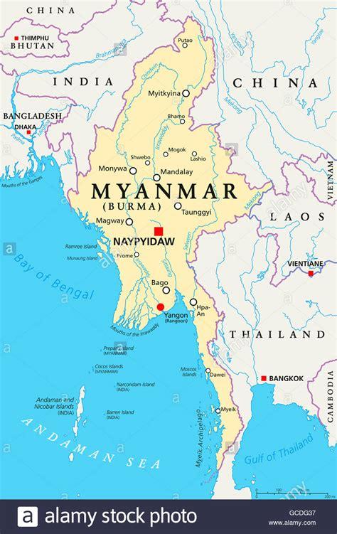 myanmar politische karte mit hauptstadt naypyidaw