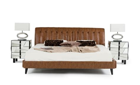 Leather Bed by Modrest Bourbon Modern Brown Leather Bed
