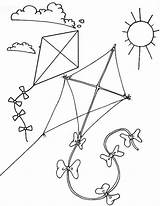 Kite Coloring Pages Flying Sunny Themed Children Coloringpagesfortoddlers Colouring Preschool Sheets Books sketch template