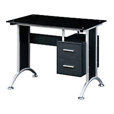 techni mobili glass computer desk black by office depot