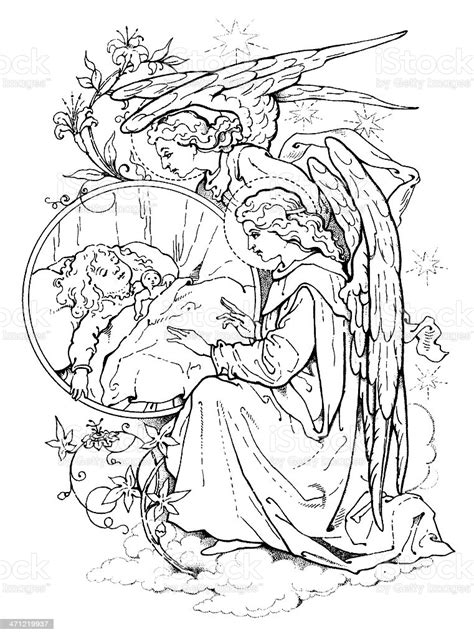 Victorian Drawing Of Angels Watching Over A Sleeping Child