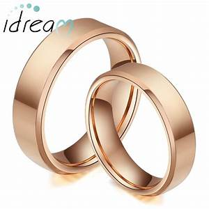 Rose Gold Plated Tungsten Wedding Bands Set Flat Beveled