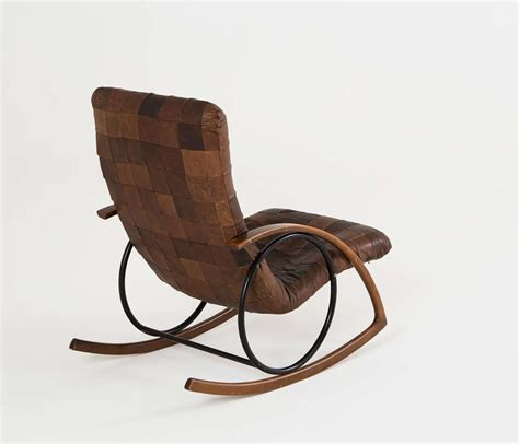 rocking chair in brown leather patchwork at 1stdibs