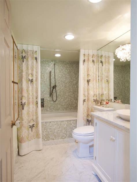 small bathroom  mosaic tile  lavender print shower
