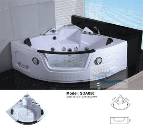 person corner bathtub   massage jets built