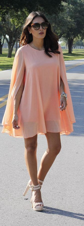 Peach Cape Dress Summer Elegant Women Fashion Outfit