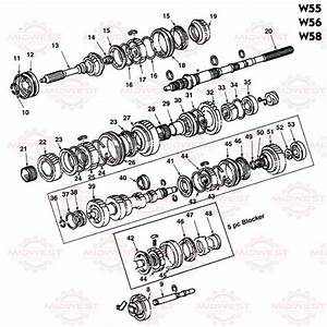 Parts Illustration Toyota W55  W56 And W58 5 Speed Manual