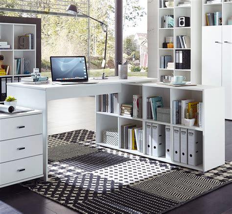 ensemble bureau et rangement bureau d 39 angle contemporain avec rangement coloris blanc