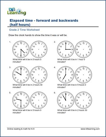 grade 2 time worksheets changes in time hours and half