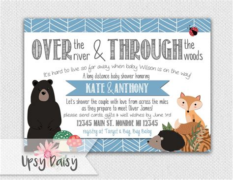 Long Distance Baby Shower Invitation Boys By
