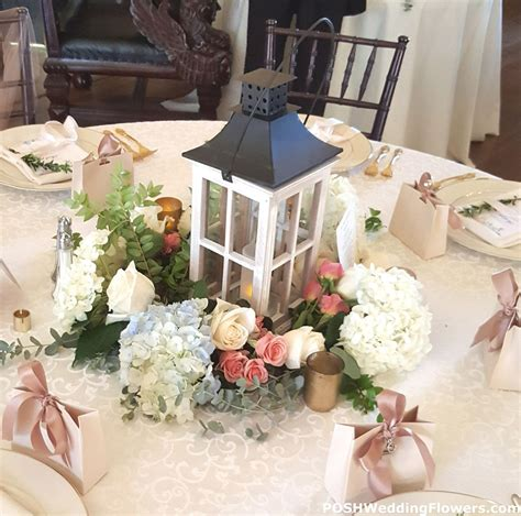 Centerpiece: Large Candle Lantern with Floral Seattle