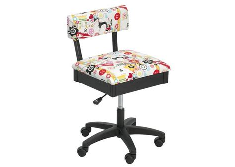 Horn Limited Edition Gaslift Sewing Chair White Patterned