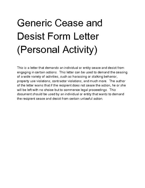 cease and desist letter personal letter for cease and desist harassment pictures