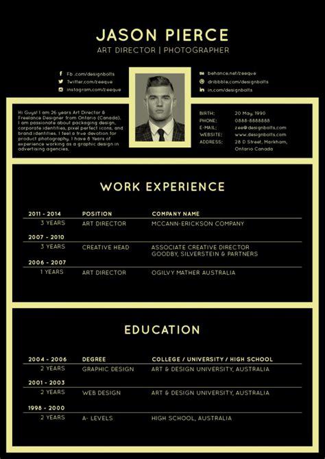 black elegant resume cv design template  art