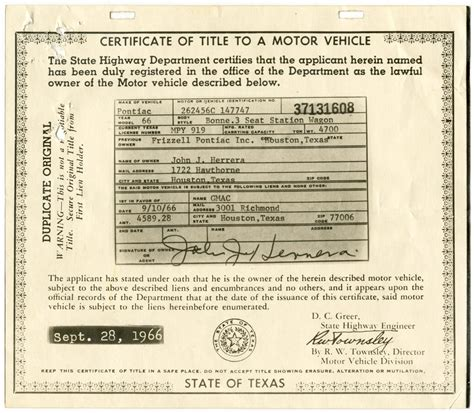 Certificate Of Title To A Motor Vehicle