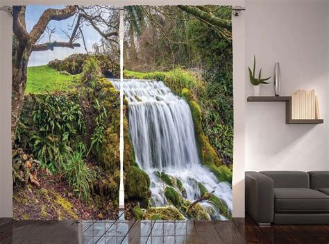 Forest Waterfall Tree Landscape Plants Natural Scenery Outside Shade Blinds Flame Retardant Diy Tower Deer Blind Shop Replacement Slats How To Calculate Fabric Required For Roman Reno Depot Kitchen Ikea