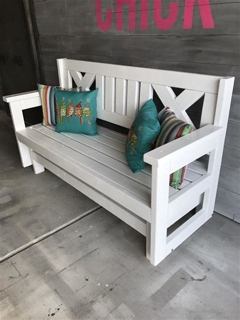 farmhouse outdoor glider bench buildsomethingcom