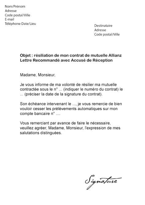 modèle de lettre de résiliation mutuelle santé loi chatel lettre de r 233 siliation mutuelle allianz mod 232 le de lettre