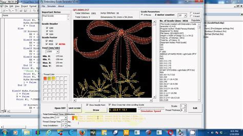 embroidery gcode generator  dst file youtube