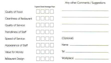 restaurant comment card templates excel xlts