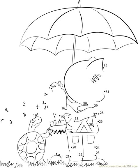 boule and bill with umbrella dot to dot printable worksheet connect the dots