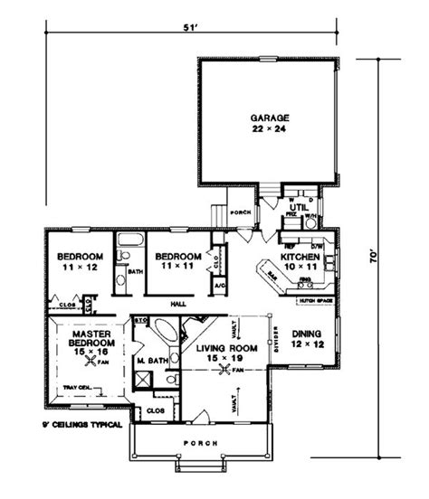 One Story Style House Plan 96507 with 3 Bed 2 Bath 2 Car