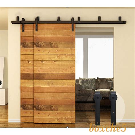 Closet Hardware by Ccjh 4ft 16ft Rustic Bypass Sliding Barn Wood Door