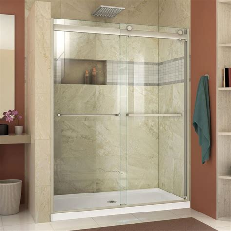 Frameless Bypass Shower Doors Dreamline Essence H 44 To 48 In X 76 In Semi Frameless