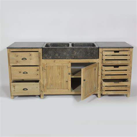 meuble cuisine bois cuisine bois recyclé avec plateau en bleue