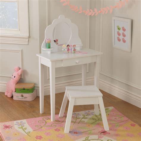 toddler vanity table kidkraft medium vanity table and stool in white