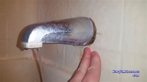 tub spout leaking water  tracked  evidence proof