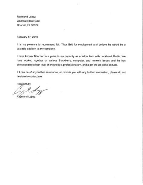 Recommendation Letter Samples | chamber reference letter let