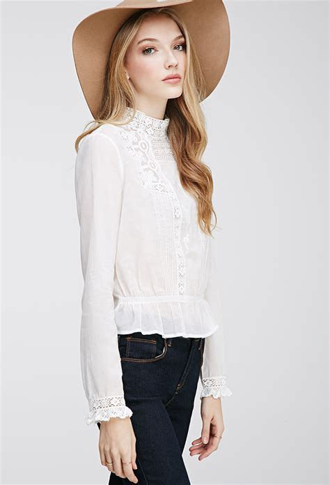 white embroidered blouse forever 21 embroidered high neck blouse in white lyst
