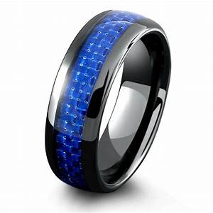 mens black ceramic wedding band with blue woven carbon With mens wrench wedding ring